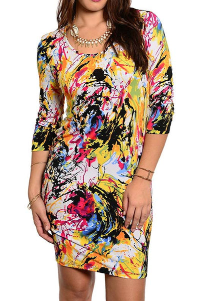 PLUS SIZE PAINT SPLASH DRESS - Shoenanigan