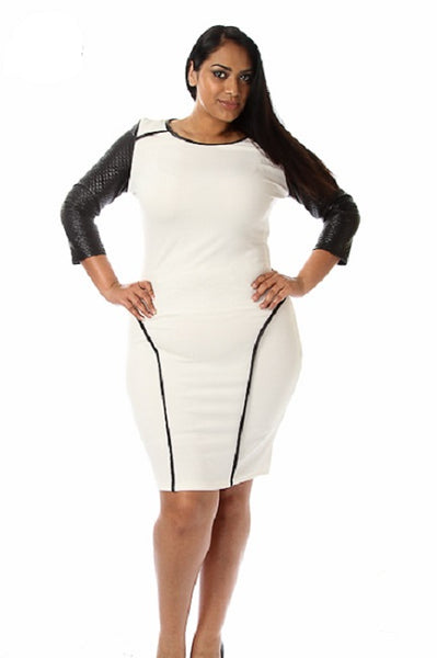 PLUS SIZE QUILTED LEATHER DRESS - Shoenanigan