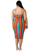 PLUS SIZE MULTI-COLOR STRIPED DRESS - Shoenanigan
