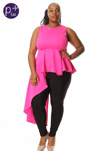 PINK PEPLUM WATERFALL BLOUSE - Shoenanigan