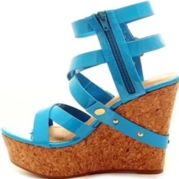 MULTI-STRAP CORK WEDGE SANDALS - Shoenanigan