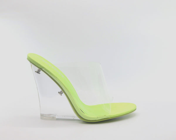 LEMONADE - NEON GREEN TRANSPARENT SOLE WEDGE HEEL