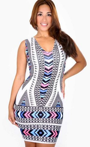 BLISS - MULTICOLOR CHEVRON PRINT BODYCON DRESS