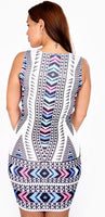 CHEVRON PRINT BODY CON DRESS - Shoenanigan