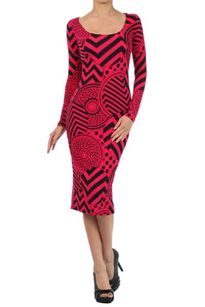 CIRCLES CHEVRON PRINT MIDI DRESS