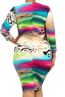 MULTICOLOR ANIMAL PRINT DRESS - Shoenanigan