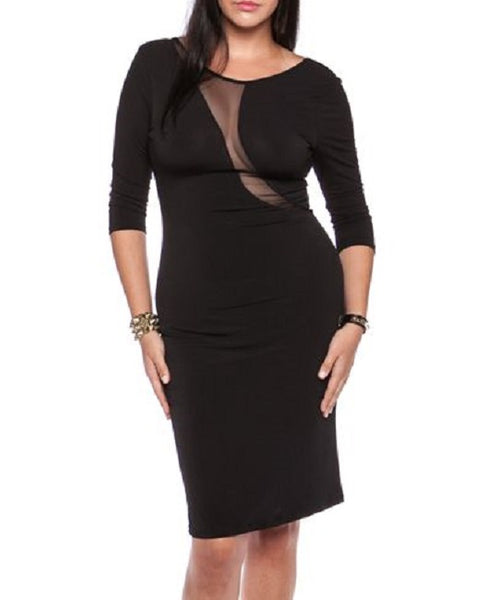 CURVES DRESS - SHEER PANEL PARTY DRESS
