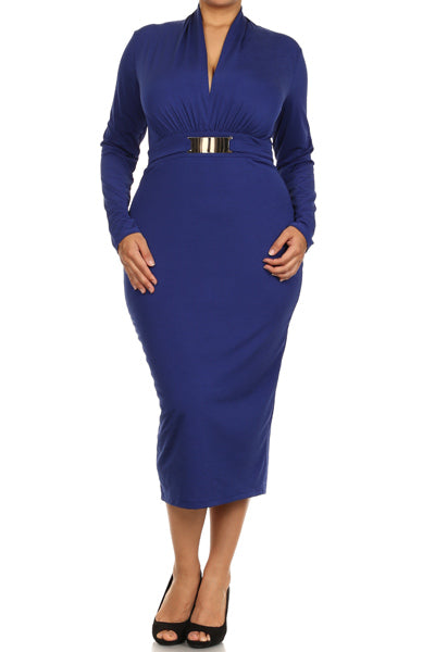 BLUE BELTED MIDI DRESS - Shoenanigan