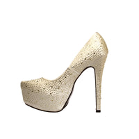 GOLD SATIN BEADED HEELS - Shoenanigan