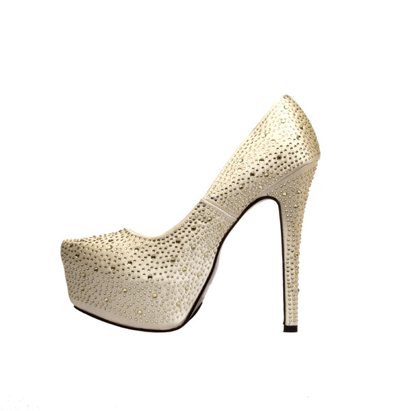 ELLE -GOLD SATIN BEADED HEELS