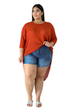 PLUS SIZE HIGH LOW KNIT TOP