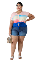 PLUS SIZE OMBRE STRIPES TOP - Shoenanigan