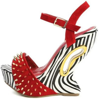 SPIKED ZEBRA WEDGE HEEL - Shoenanigan