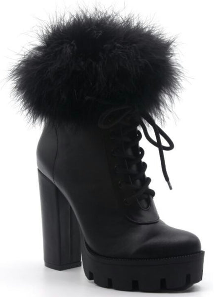BLACK CHUNKY HEEL FUR BOOTIE - Shoenanigan