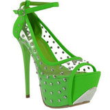 NEON GREEN STUDDED HEEL - Shoenanigan
