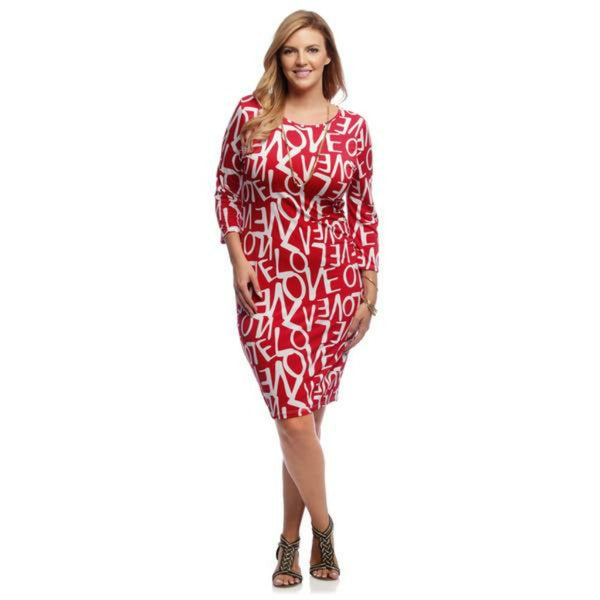 PLUS SIZE RED LOVE PRINT DRESS - Shoenanigan