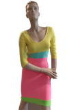 NEON COLOR BLOCK BODY CON DRESS