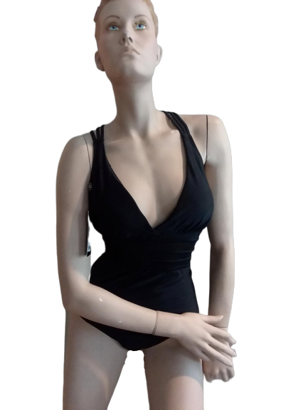 BLACK OPEN BACK SWIMSUIT - Shoenanigan