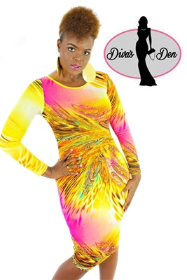 PINK YELLOW BODY CON DRESS - Shoenanigan