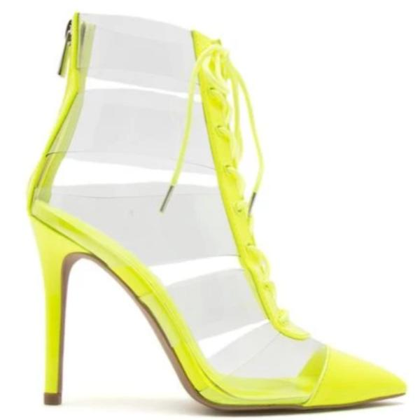 SHOW ME - CLEAR LACE UP BOOTIE HEEL