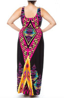 PLUS SIZE TRIBAL MULTICOLORED MAXI DRESS - Shoenanigan