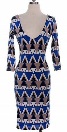BLUE AND GRAY PRINT V NECK DRESS - Shoenanigan