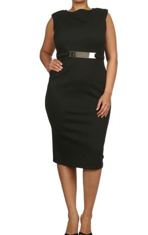 BLACK QUILTED MIDI DRESS - Shoenanigan