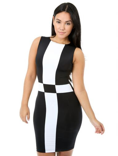 BLACK & WHITE COLOR BLOCK DRESS - Shoenanigan