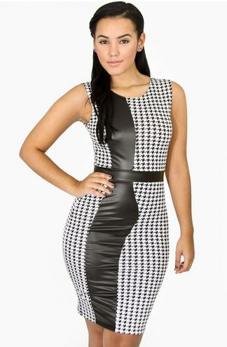 COLOR BLOCK HOUNDS TOOTH LEATHERETTE DRESS - Shoenanigan