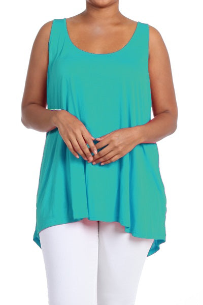TURQUOISE PLUS SIZE HIGH LOW TOP - Shoenanigan