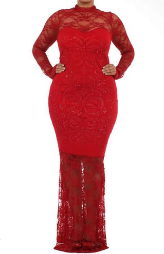 RED LACE BEADED FULL LENGTH MAXI DRESS - Shoenanigan