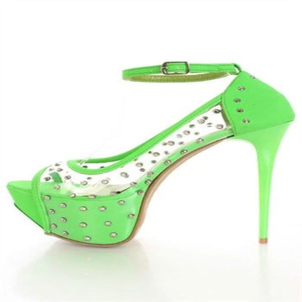 ENVY - NEON GREEN STUDDED HEEL