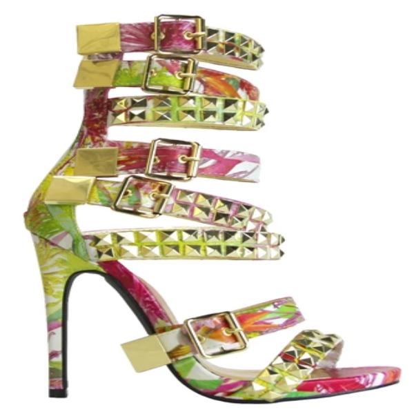 NEVAEH FLORAL PRINT MULTIBUCKLE SANDAL