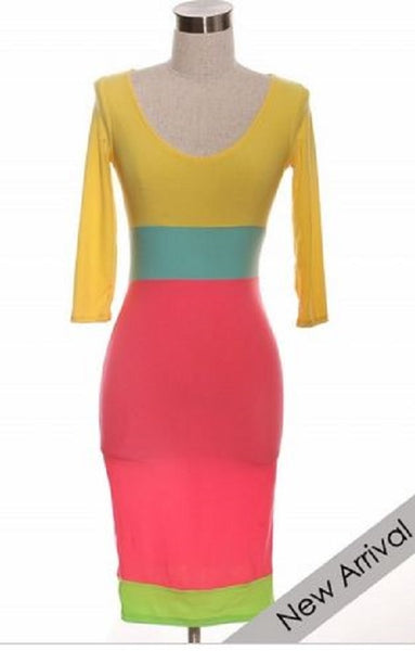 COLOR CRAZE -NEON COLORBLOCK BODYCON DRESS