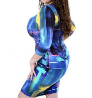 PLUS SIZE BLUE ABSTRACT PRINT DRESS - Shoenanigan