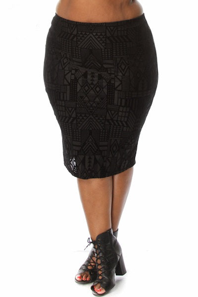 PLUS SIZE VELVET PENCIL SKIRT - Shoenanigan