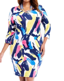 PLUS SIZE COLORFUL SCOOP BACK DRESS - Shoenanigan