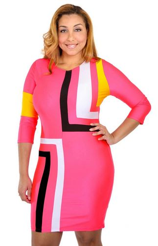 PLUS SIZE COLORBLOCK DRESS - Shoenanigan