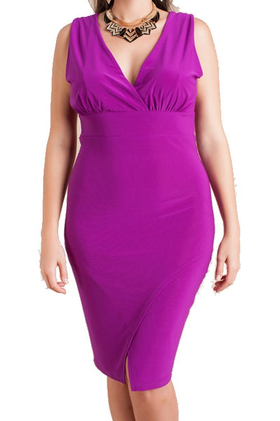 PURPLE PLUS SIZE V NECK DRESS - Shoenanigan