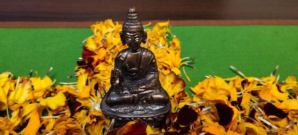 Brass Buddha Idol- Ideal for Home/Office decor. Fine carving, antique finish, vintage home decor