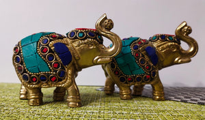 Brass Artistic Stones studded Elephant idols - Set of 2
