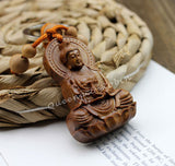 Wood Carving Buddha Statue Key Chain