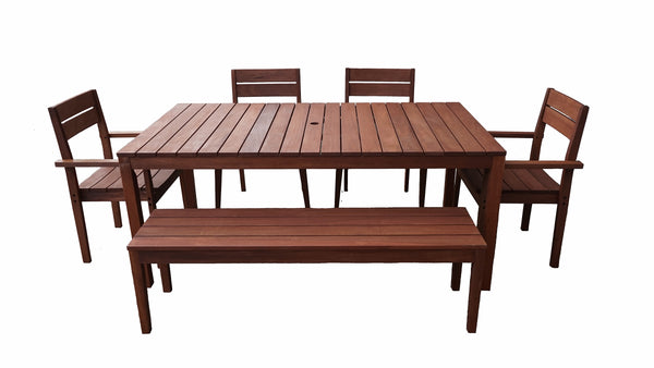 Supreme Rectangular 1.8m Dining Table & Chairs / Bench 6pc Setting