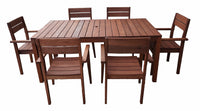 Supreme Rectangular 1.8m Dining Table & Chairs 7pc Setting