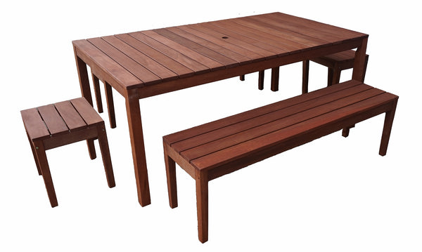 Supreme Rectangular 1.8m Dining Table & Bench 5pc Setting