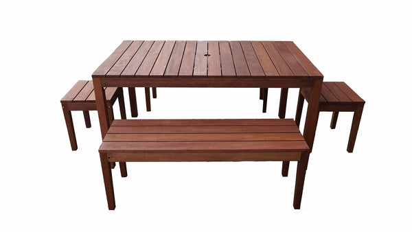Supreme Rectangular 1.5m Dining Table & Bench 5pc Setting