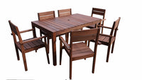 Supreme Rectangular 1.5m Dining Table & Chairs 7pc Setting