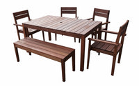 Supreme Rectangular 1.5m Dining Table & Chairs / Bench 6pc Setting