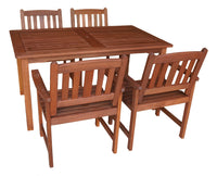 Malay Rectangular 1.5m Dining Table & Chairs 5pc Setting