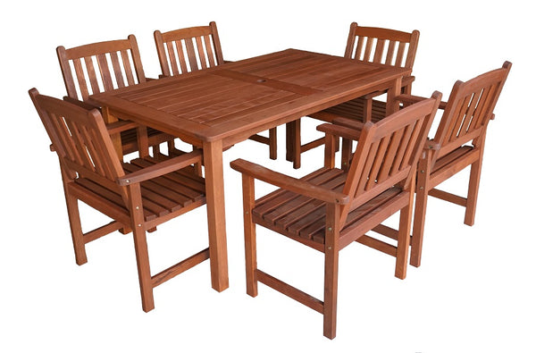 Malay Rectangular 1.5m Dining Table & Chairs 7pc Setting